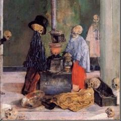 Squelettes essayant de se rechauffer par James Ensor
