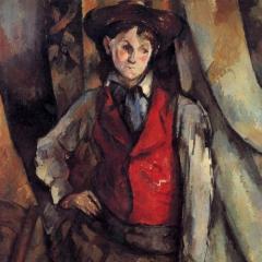 Le garçon au gilet rouge par Paul Cézanne via Wikimedia Commons