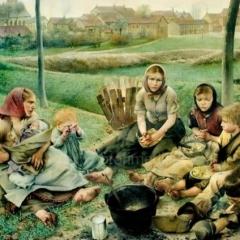 Les marchands de craie, le midi, par Léon Fréderic