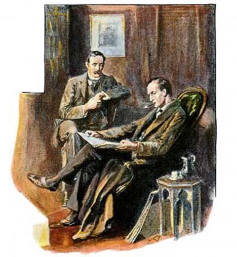 Sherlock Holmes et le Dr Watson par Sidney Paget via Wikimedia Commons